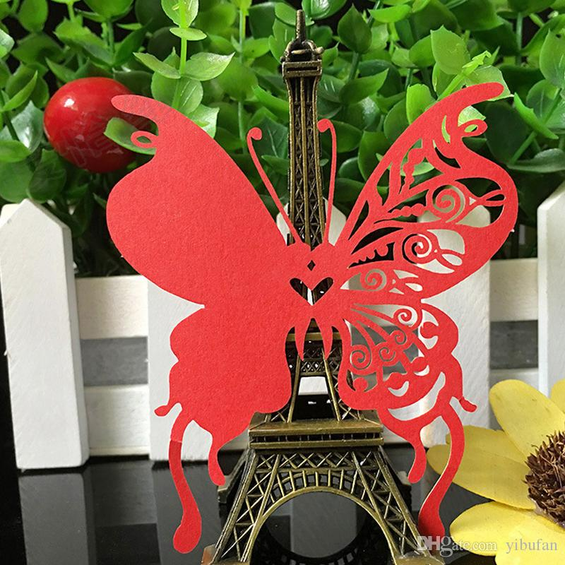 DIY Place Card Laser Cut Butterfly Wedding Invitation Wine Glass Cup Paper Cards Name Card Wedding Party Decor