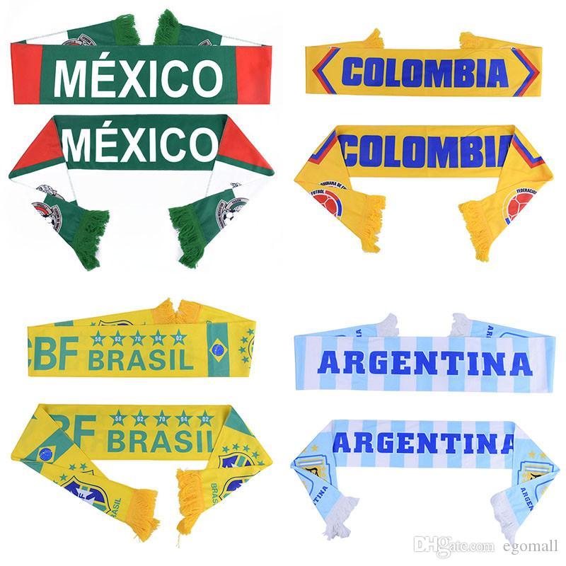 Rusya Dünya Kupası 2018 futbol Eşarp Futbol Fan Eşarp Ulusal Takım 32 Takımlar Meksika Bayrağı Banner Futbol Amigo Eşarp