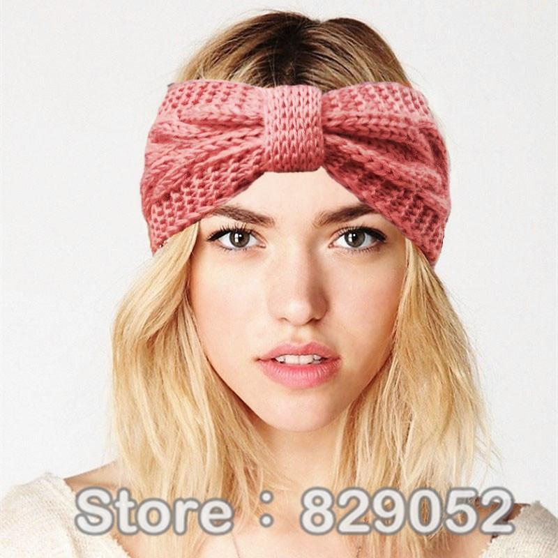 74995e31847 2019 Women S Knitted Hairband Crochet Winter Ear Warmer Bow Headband Turban  Headwear Head Wrap Bandage Girls Hair Accessories From Super03