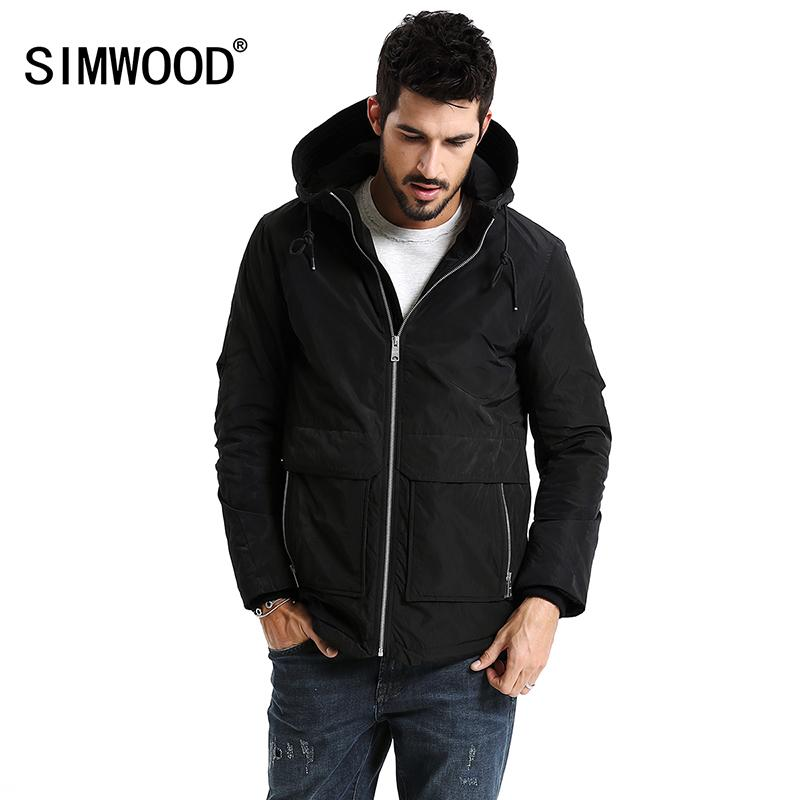 Großhandel Simwood Neue 2018 Winter Männer Oberbekleidung Plus Größe  Polyester Dünne Mode Herren Jacke Parka Frühling Casual Schwarz Warm Mantel  Mc017003 ... 8168033b8b
