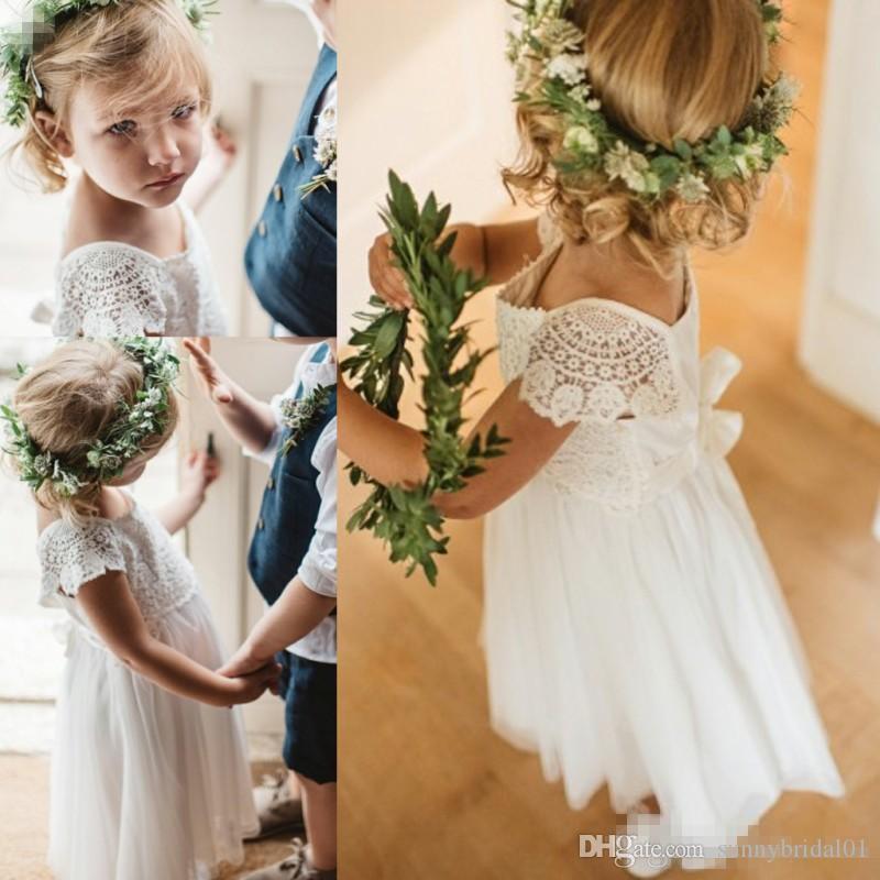 2018 Summer Boho White/Ivory Flower Girl Dresses Lovely Lace Cap Sleeves  Cap Sleeves Princess Kids Birthday First Communion Dress