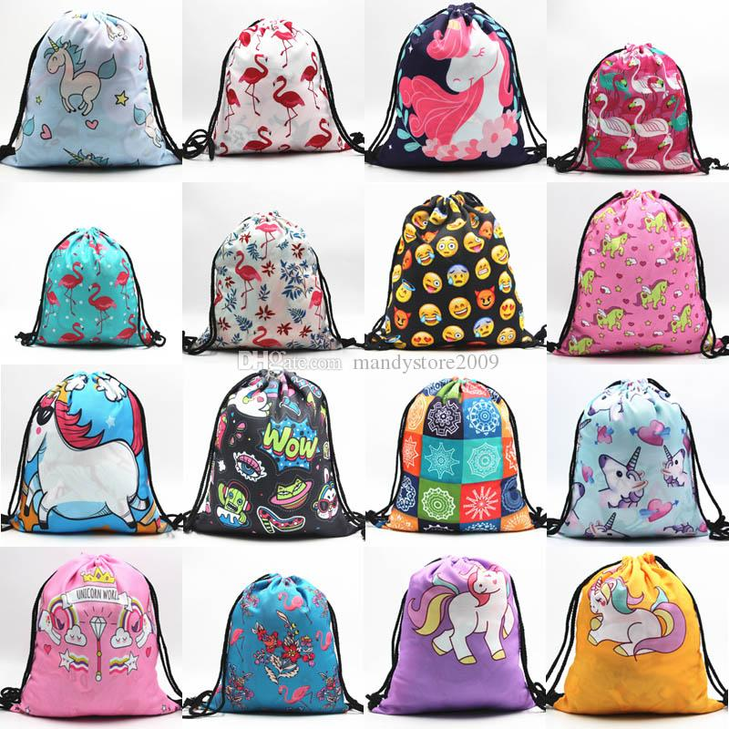 d64affcf6d 2018 New 44 Styles 3D Digital Printed Unicorn Drawstring Bag Cartoon Unicorn  Backpacks Travel Bags Beach Bag Kids Gift Backpack Backpack Backpacks For  Back ...