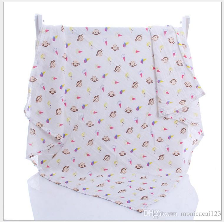 Baby Muslin Swaddles Organic Cotton Wraps Ins Blankets Nursery Bedding Newborn Cartoon Bath Towels Soft Parisarc Robes Quilt Robes