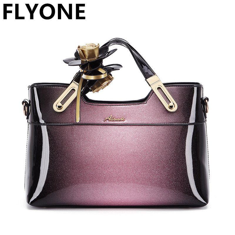 3e8e8401c7698 Großhandel Hohe Qualität Luxus Lackleder Frauen Handtaschen Mit Blumen Frauen  Tasche Handtasche Damen Umhängetaschen Elegante Weibliche Tote Clutch Von  ...