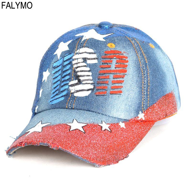 285de71b5 Vintage Distressed Baseball Caps for Men Women Unisex Letter Printed  Outdoor Visor Cap Sunhat Washed Denim Curved Hats USA Hat