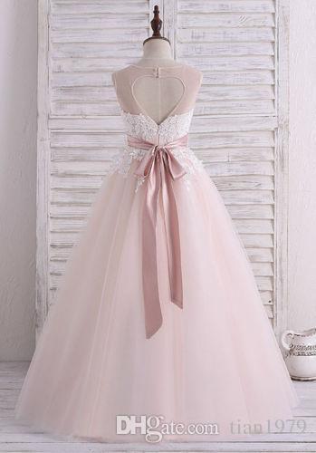 Abiti da ragazza di fiori compleanni di nozze Abiti da cerimonia di pizzo Abiti da cerimonia di Tulle Ball Gown Girls Formal Dress
