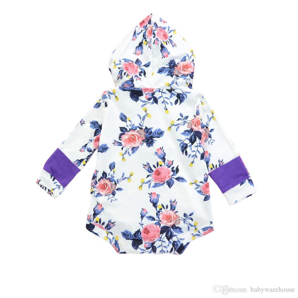 2018 Schöne neugeborene Baby-Kleidung Langarm Floral mit Kapuze Spielanzug-Overall Playsuit Outfit Baby-Kleidung Frühlings-Herbst-Baby-Spielanzug 0-24M