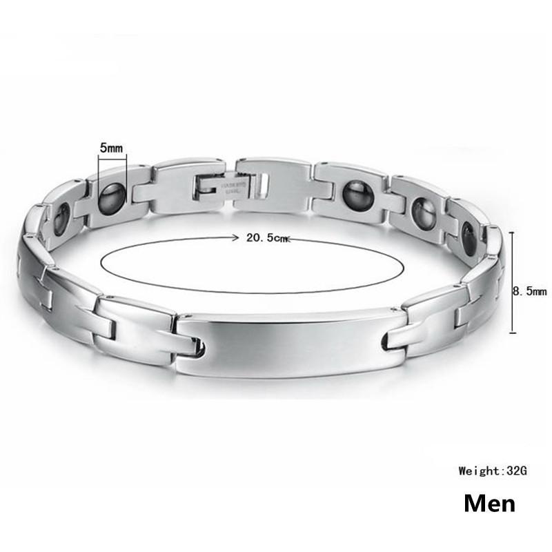 316l Paslanmaz Çelik Çift Bilezikler Mıknatıs Taş işlemeli Kadın Erkek Sağlık Takı Dostluk Hediye .OB3072