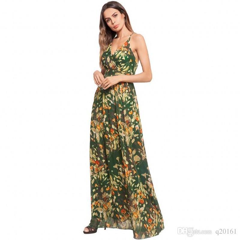Primavera y verano Mujeres impresión floral sin mangas sexy vestido Boho vestido de fiesta largo Maxi vestido de verano vestido de verano vestidos casuales