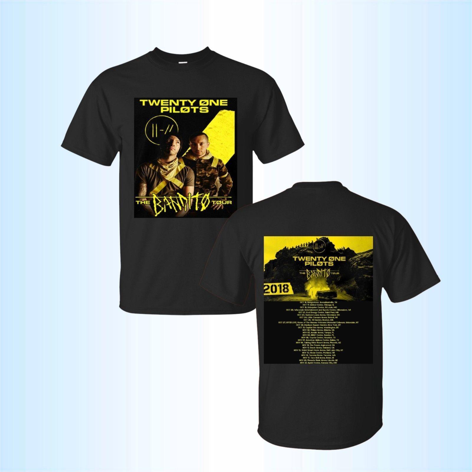 c499f91ad76d0 Compre Nuevo Twenty One Pilots BANDITO Tour 2018 Camiseta Negra Tamaño  Completo 2018 Camiseta De Moda 100% Algodón Camiseta Tops Camiseta Al Por  Mayor A ...