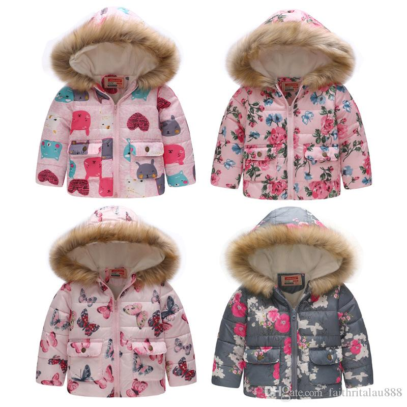 9d5ae545e Free shipping 2-7 years boys girls winter cotton padded coats jacket  printed hooded windproof thick warm outerwear kids clothes 14 colors