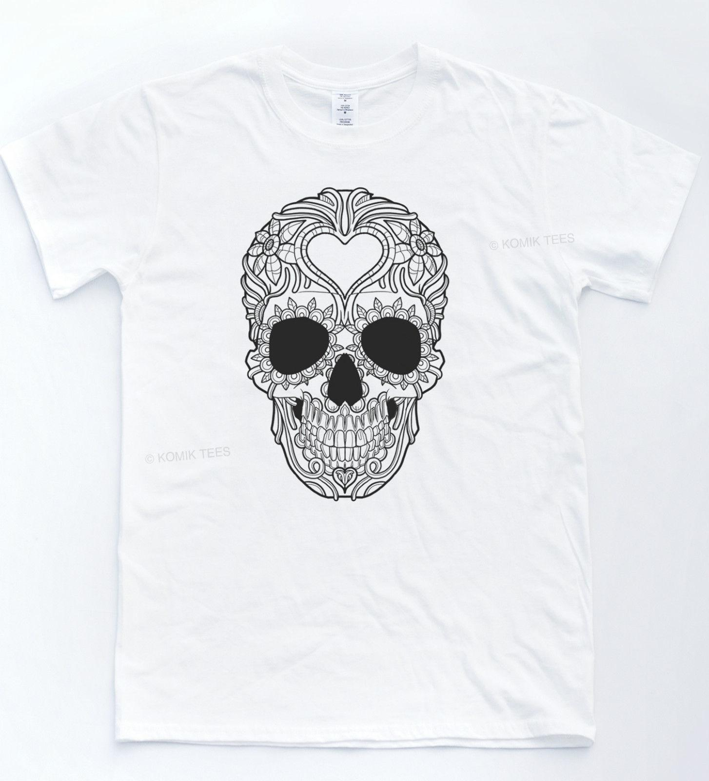 47a0568e Mexican Sugar Skull Tee Tattoo Henna Indie T Shirt Hipster Vintage Retro  Top Cool Casual Pride T Shirt Men Unisex New Fashion Trendy T Shirts  Offensive ...