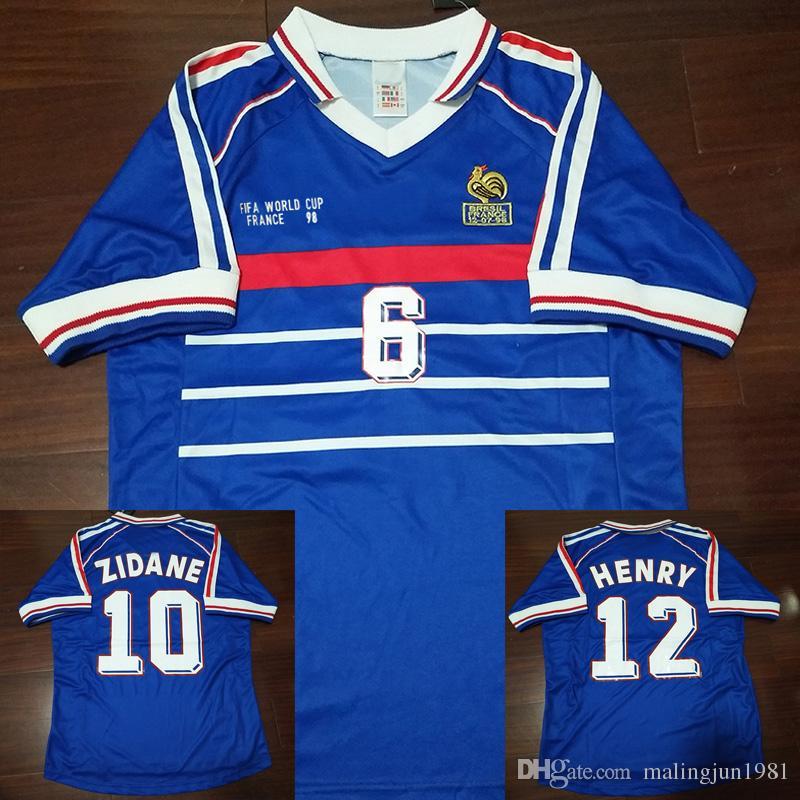 Compre 98 Retro Camisas De Futebol Zidane Trezeguet Maillot FRANCe  Djorkaeff Henry Deschamps 1998 Camisas Clássicas Do Vintage Kits Camisa De  Futebol ... 6c1df9518a0be