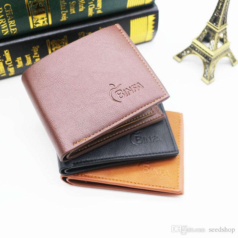 8e3c00ab33a 2019 Bostanten New Men Short Wallets Black Brown Bifold Wallet Mens Brand  Leather Card Holder Money Cash Wallet Purses Pockets From Seedshop