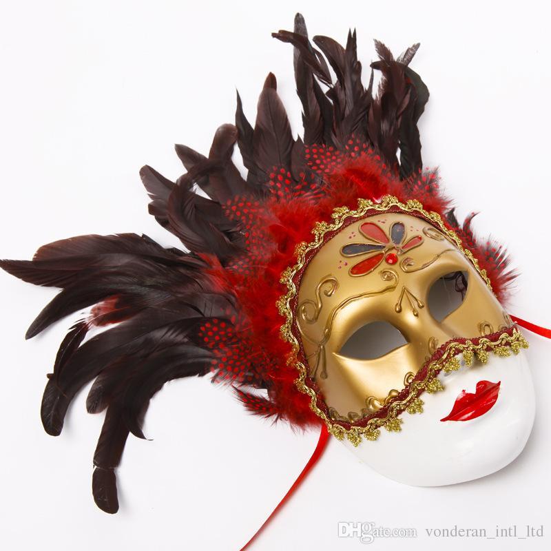 Maschere veneziane di Halloween Maschere boutique Maschera di piume semicolore labbra con lacci Decorare