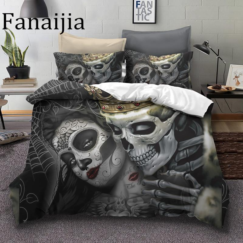 Fanaijia Sugar Skull Bedding Sets King Beauty Kiss Skull