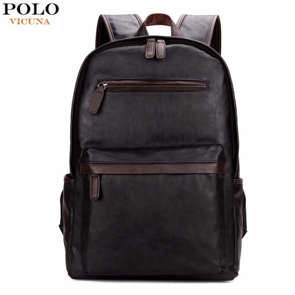 03df0643564a VICUNA POLO Brand Leather Mens Laptop Backpack Casual Daypacks For College  High Capacity Trendy School Backpack Men Travel Bag Y1890401 Online with ...