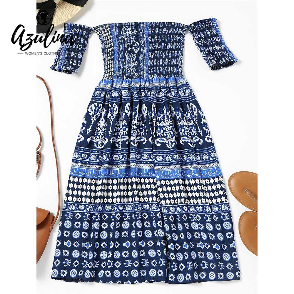 19d1394b9ca9f 20187 AZULINA Off Shoulder Printed Smocked Flare Midi Dress Women Summer  Beach Dress Short Sleeve High Waist Boho Dress Vestidos 2018 Designer  Evening Gowns ...