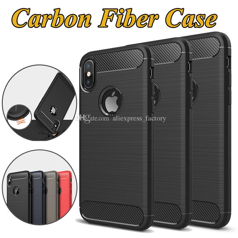 6d060253c59 Carbon Fiber Case Rugged Armor Hybrid Shockproof TPU Brushed Hard Cover For IPhone  XS Max XR X 8 7 Plus Samsung Galaxy Note 9 S10 Lite S9 S8 Cell Phone ...