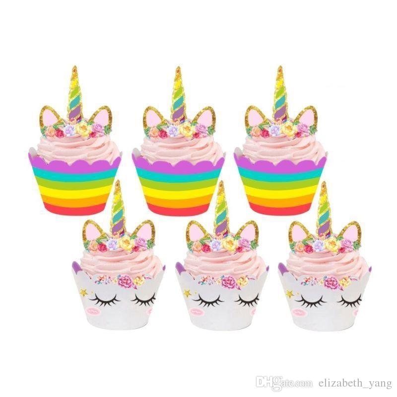 Unicorn Cupcake Toppers and Wrappers Double Sided Kids Party Cake Decorations Cupcake Wrappers +Cake Topper
