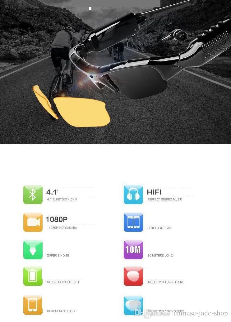 SM07B 1080P Bluetooth Video Camera Polarized lenses Glasses Support DV MP3 Music Phone Calls TF Cards Mobile Eyewear Recorder Sunglasses