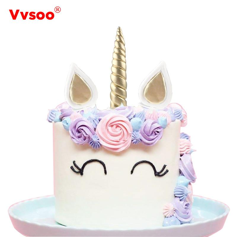 2019 Unicorn Party Decorations Cake Toppers Silver Corner Ears Birthday Cupcake Topper For Baby Shower Supplies From Happpyzone