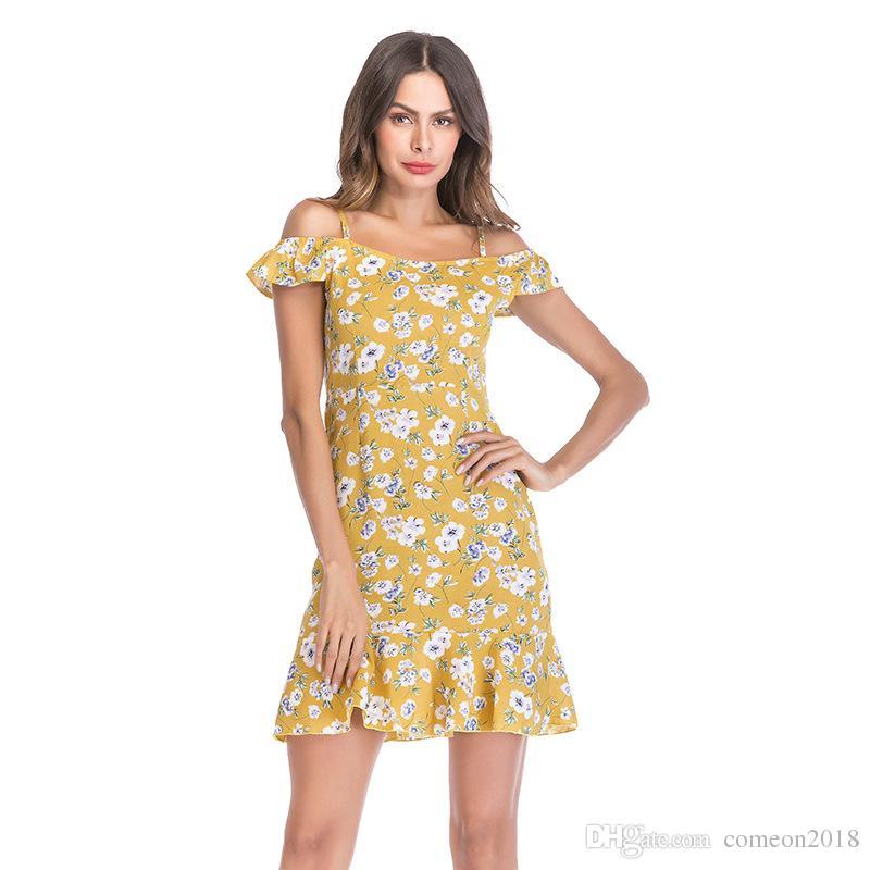 3100c8b6e01 Compre Nova Moda Feminina Roupas Boho Vestidos Florais Babados E Cinta Chiffon  Vestido De Lótus Folha Borda Tremendo Camisola Elegante Festa Vestidos De  ...