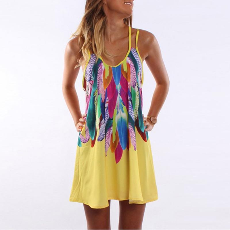 ad7a8ce9b763 Women Bohemian Short Dress Feather Printed Beach Mini Dress Causal Loose  Spaghetti Strap Summer Vestidos Plus Size S 5XL Short Purple Dresses For  Juniors ...
