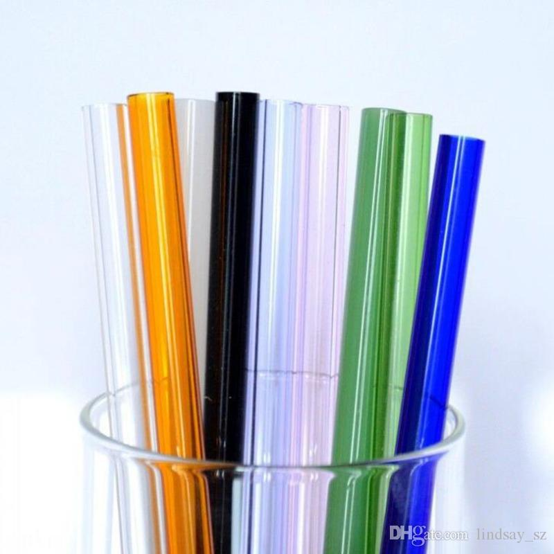 Factory Direct Sale Colored Borosilicate Cocktail Glass Straws 7 Inch 8mm strait drinking straw for party fast shipping