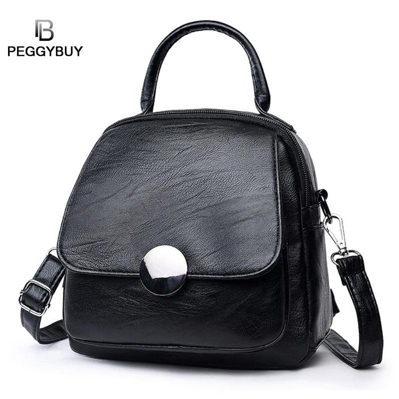 eb14303345 Simple Style Backpack Women PU Leather Backpacks For Teenage Girls Mini  Schoolbags Fashion Vintage Solid Black Shoulder Bag Messenger Bags Leather  Backpack ...