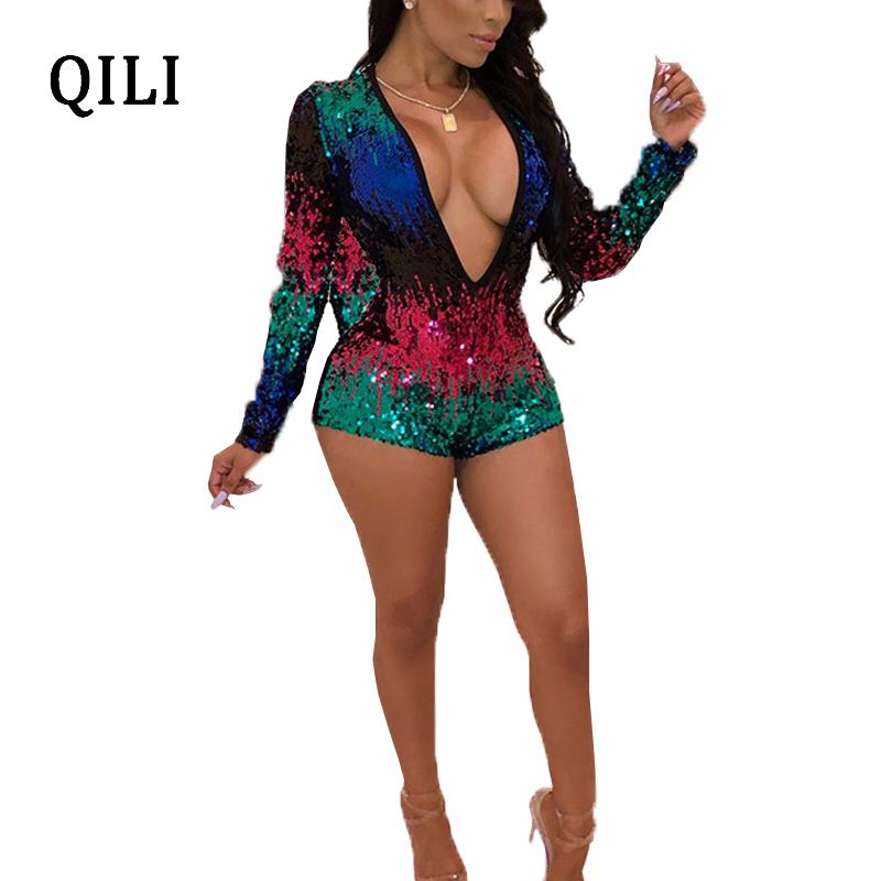 73610412c60 2019 QILI Sexy V Neck Sequined Rompers Women Playsuits Colorful Sequin Long  Sleeve Fashion Elegant Jumpsuit Womens Short Romper From Vikey16