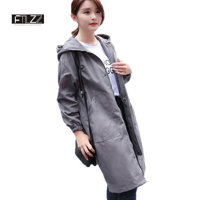 375eb981949 Female Hooded Trench Coats New 2018 Women Causal Army Green Medium Long  Coats Mujer Spring Autumn Harajuku Windbreaker Feminina S18101302 UK 2019  From ...