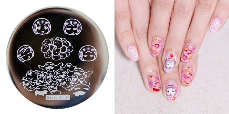 Nail Art Cute Baby Girl Plate Round 55cm Template Design Nail Disk