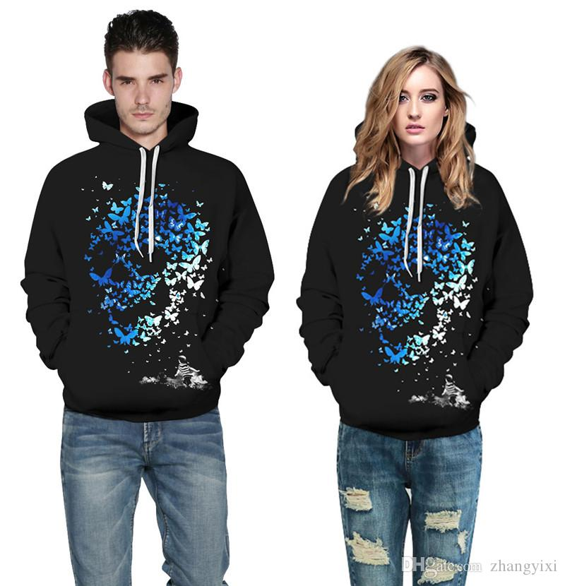 Wholesale Sweatshirts 3d Digital Colorful Fox Skull Print Pullovers Casual Hip Hop Tracksuit Man Women Couple Warm Hoodies