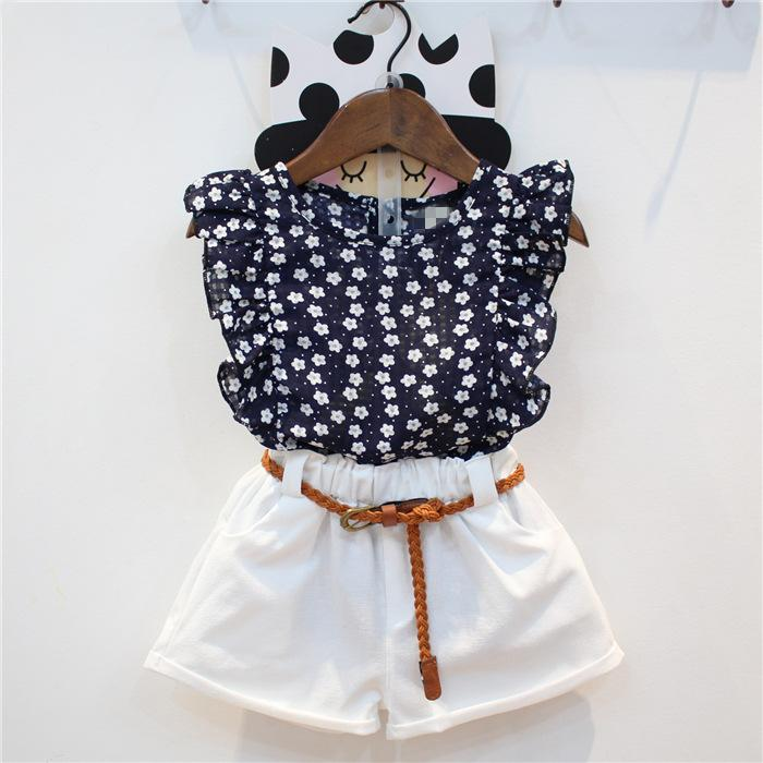 3846404820b 2019 Children Clothing 2018 Summer New Girls Chiffon Floral Vest + Solid  Color Shorts Two Piece Suit From Leilan02