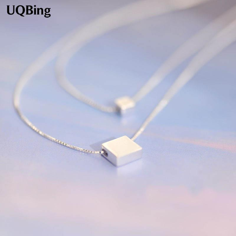 Drop Shipping 925 Sterling Silver Necklaces Square Block Double Silver Necklaces &Pendant Jewelry Collar Colar