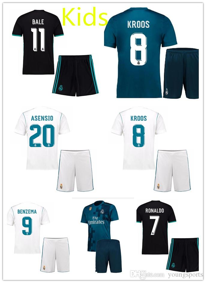 2017 2018 Kids Kit Real Madrid Football Jersey Short 17 18 Home Away 3rd  Boy Soccer Jerseys Ronaldo Bale ASENSIO ISCO Child Soccer Shirts UK 2019  From ... 69c6ee045