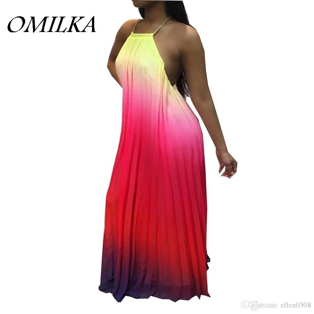 ba57101ed082 OMILKA 2018 Summer Women Spaghetti Strap Backless Gradient Color Long Maxi  Dress Casual Loose Bohemian Boho Beach Dress Dressing Style For Women  Dressing ...