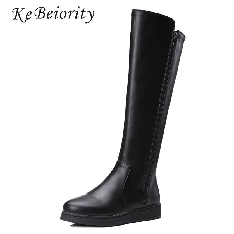 9e92d2bc2d4 KEBEIORITY Women Leather Boots Spring Autumn Knee High Boots Shoes Flat  Black Leather Women Fashion Tall Snow 2017 Sporto Boots Boys Boots From  Paradise12