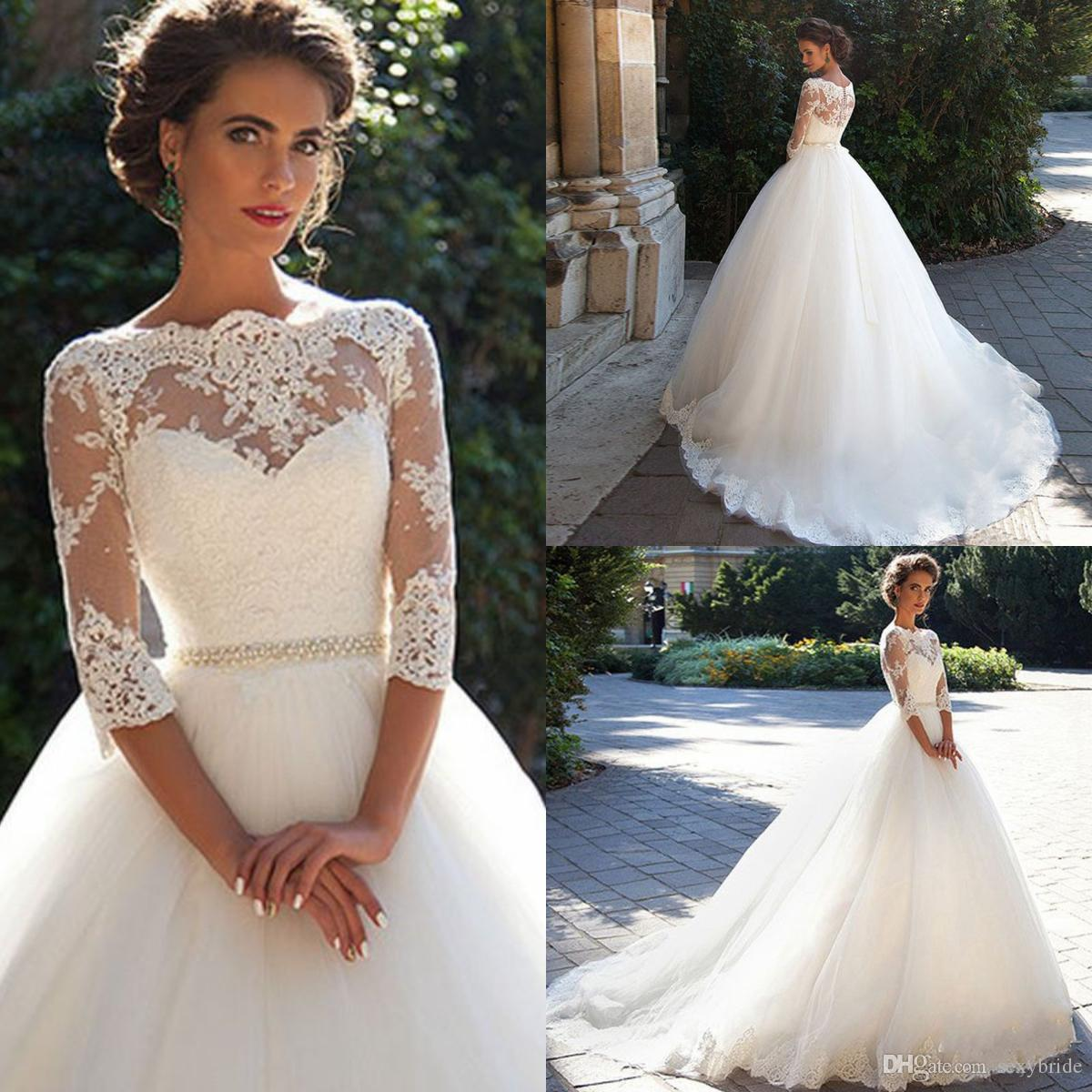 25f29fcb024c5 Elegant Tulle Appliques 3/4 Long Sleeve Lace Wedding Dresses 2018 Back  Zipper Court Train Bridal Ball Gowns For Women With Waist Bow Tulle Ball  Gown Tulle ...