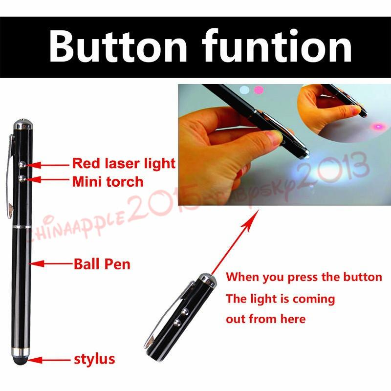 4 in 1 Laser Pointer LED Torch Touch Screen Stylus Ballpoint Pen for ipad iphone 6 7 8 samsung tablet pc mp3