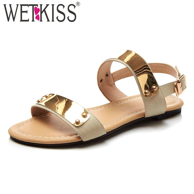 3c103061a Wholesale 2018 Summer Women Flat Sandals Genuine Leather Footwear Female  Sandals Shoes Fashion Open Toe Buckle Strap Ladies Shoes Espadrilles  Birkenstock ...