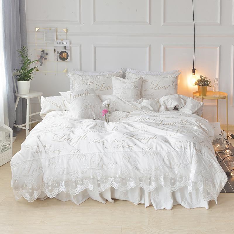 Romantic Princess Ruffle White Lace Bedding Set Queen