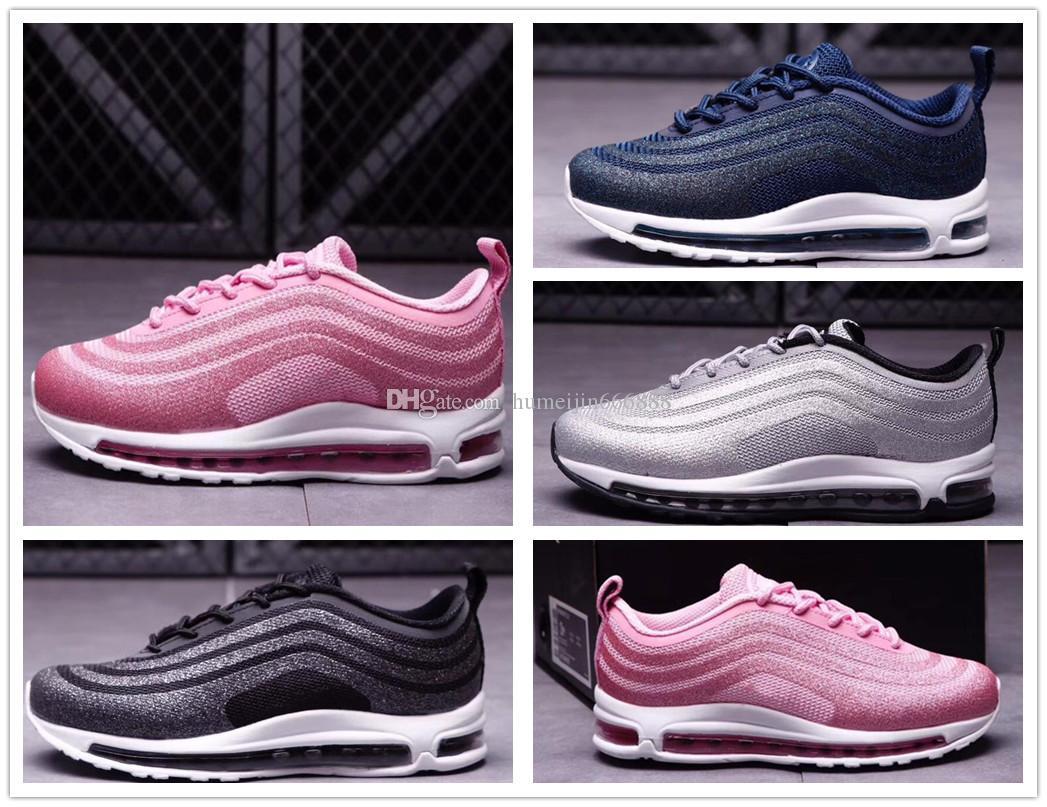 9c0dbf39b7086 Acheter Nike Air Max Airmax 97 2018 Marque Bébé Enfants Chaussures De Course  Coussin 97 Kpu En Plastique Chaussures De Formation Jeunes Garçons Filles  En ...