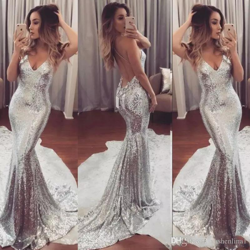 27bb5236da3 Sexy Silver Sequind Prom Dresses Mermaid Backless Evening Gowns Simple V  Neck Women Formal Party Gowns Evening Wear Special Occasion Dresses Prom  Dress ...