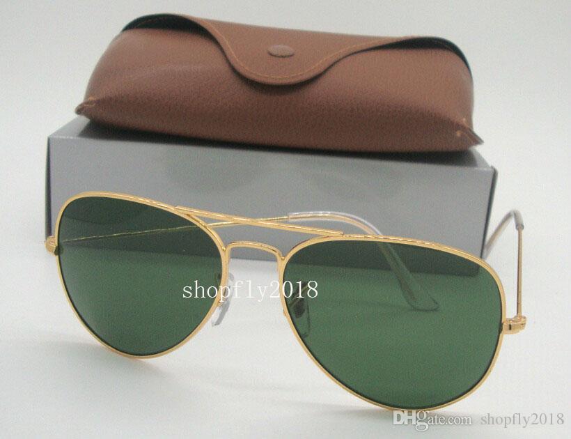 e161293b63 Drop Classic Pilot Mens Womens Sunglasses Metal Sun Glasses Eyewear Gold  Frame Green Glass Lenses 58mm 62mm With Brown Case Prescription Sunglasses  Glasses ...