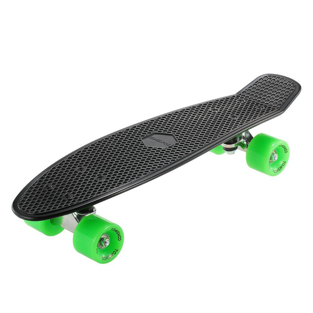 5f4f04373d9 Compre TOMSHOO 22 Polegada Skate Cruiser Board PU Quatro Roda De Rua Banana Long  Skate Board Mini Skate Completo Deck Longboard De Alexandr