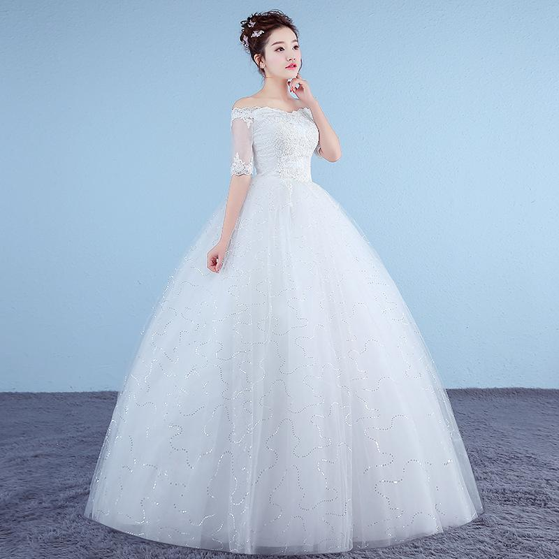 Personalizado blanca princesa vestidos de novia simple vestido de novia 2018 Appliques del medio de la manga con cuello en V vestido de Noiva Real Photo