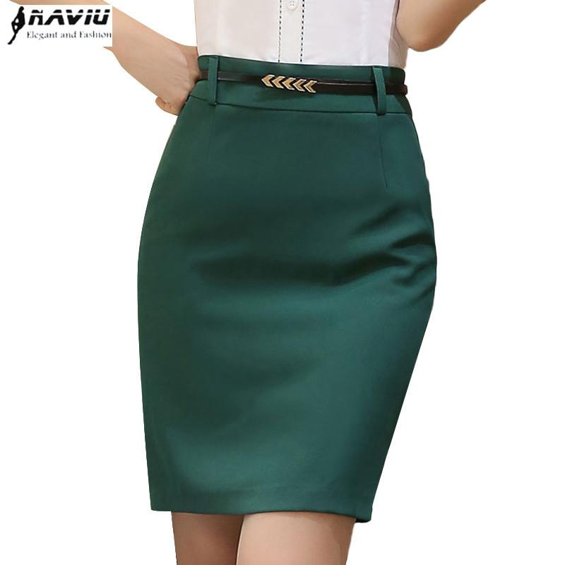 1a95fbb1f Verano moda mujeres falda formal OL smmer más el tamaño delgado negro Verde  cadera faldas cortas oficina señoras desgaste desgaste paso falda S916