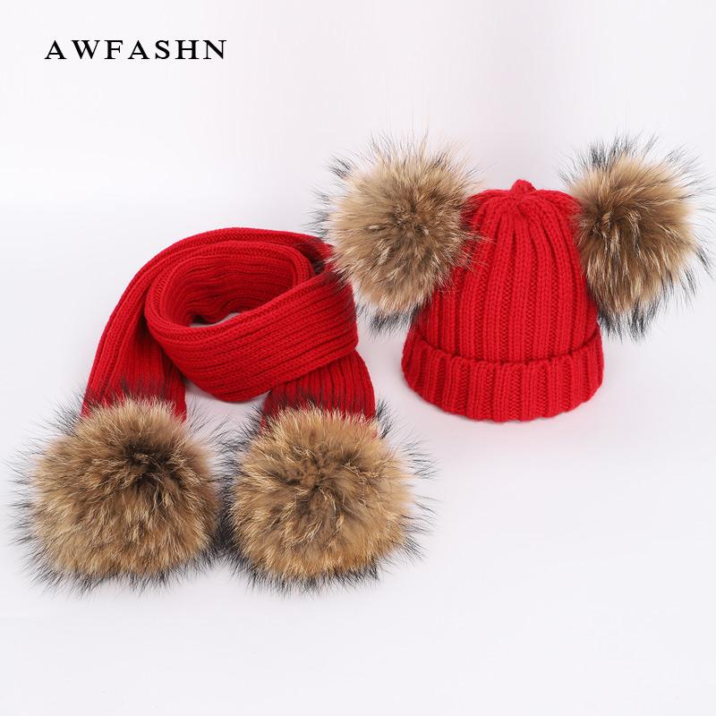 58fcf66a27c 2019 New Cute Children S Raccoon Fur Pom Poms Knit Beanie Hat Scarf Boy  Girl Winter Thicken Hedging Cap Scarves Soft Ski Baby Kids From  Yiquanwater